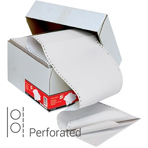 Image of Computer Listing Paper / 3 Part / 11 inch x 241mm / Perforated / Plain White / Box (1000 Sheets)