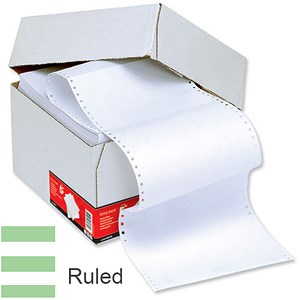 Image of Computer Listing Paper / 1 Part / 11 inch x 241mm / White & Green / Ruled / Box (2000 Sheets)