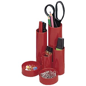 Image of 5 Star Desk Tidy with 6 Compartments - Red