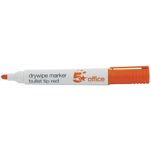 Image of 5 Star Drywipe Marker / Bullet Tip / Red / Pack of 12