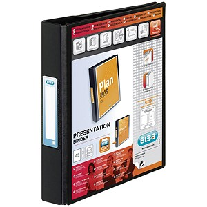 Image of Elba Vision Ring Binder / A5 / Clear Front Pocket / 25mm Capacity / Black