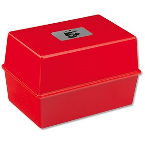 Image of 5 Star Card Index Box / Capacity: 250 203x127mm Cards / Red