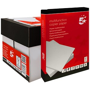 Image of 5 Star A4 Quality Multifunctional Paper / White / 80gsm / Box (5 x 500 Sheets)