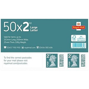 Image of Royal Mail 2nd class postage stamps for large letters – 50 Per Pack