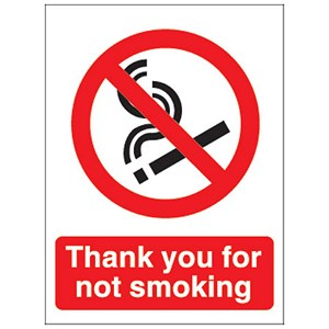 Image of Thank You For Not Smoking Sign 140x115mm White Self-adhesive Vinyl