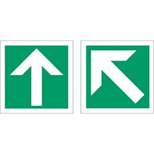 Image of Stewart Superior Fire Exit Sign Arrow Diagonal and Straight 150x150mm Self-adhesive Vinyl Ref NS009
