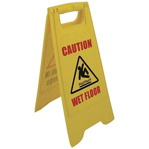 "Image of 2-Sided A-Frame Sign - ""Caution Wet Floor"" / ""Cleaning in Progress Yellow"""