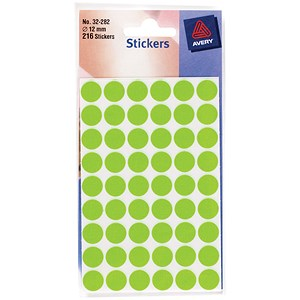 Image of Avery Coloured Labels / 12mm Diameter / Fluorescent Green / 32-282 / 216 Labels