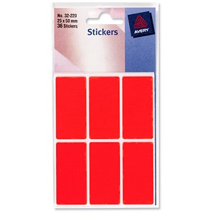 Image of Avery Coloured Labels / 25 x 50mm / Fluorescent Red / 32-220 / 10 x 36 Labels