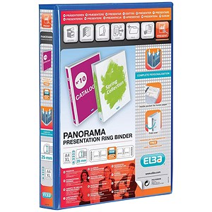 Image of Elba Panorama Presentation Ring Binder / 4 D-Ring / 40mm Spine / 25mm Capacity / A4 / Blue / Pack of 6
