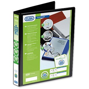 Image of Elba Panorama Presentation Ring Binder / 4 D-Ring / 40mm Spine / 25mm Capacity / A4 / Black / Pack of 6