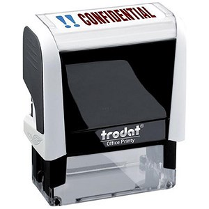 "Image of Trodat Office Printy Self-Inking Stamp / ""Confidential"" / Reinkable / Red & Blue"