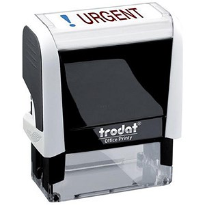 "Image of Trodat Office Printy Self-inking Stamp / ""Urgent"" / Reinkable / Red & Blue"