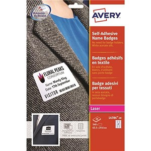 Image of Avery Laser Name Badge Labels / Self-adhesive / 63.5x29.6mm / White / L4784-20 / 540 Labels