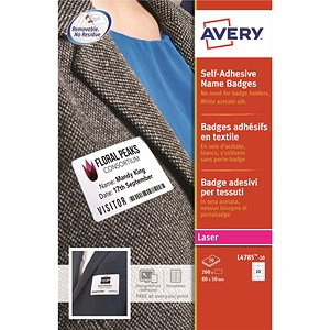 Image of Avery Laser Name Badge Labels / Self-adhesive / 80x50mm / White / L4785-20 / 200 Labels