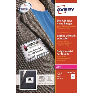Image of Avery Laser Name Badge Labels / Self-adhesive / 80x50mm / Blue Border / L4787-20 / 200 Labels