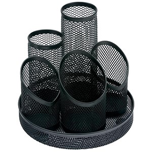 Image of Mesh Pencil Pot with 5 Tubes / Scratch-resistant with Non-marking Base / Black