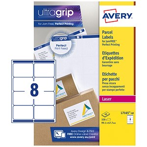 Image of Avery BlockOut Jam-free Laser Addressing Labels / 8 per Sheet / 99.1x67.7mm / White / L7165-40 / 320 Labels
