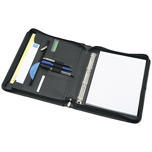 Image of 5 Star A4 Zipped Organiser with Detachable 4 Ring Binder / Leather / Black