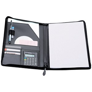Image of 5 Star Zipped Writing Case with Pad & Calculator / Leather-Look / A4 / Black