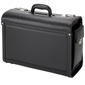 Image of Alassio Genova Pilot Case / Multi-section / 2 Combination Locks / Leather-look / Black