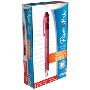 Image of Paper Mate Flexgrip Retractable Ball Pen / Medium / Red / Pack of 12