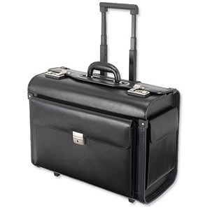 Image of Alassio Silvana Trolley Pilot Case with Laptop Compartment / 2 Combination Locks / Leather / Black
