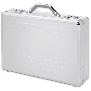 Image of Alumaxx Kronos Laptop Attaché Case with Padding / 2 Combination Locks / Silver Aluminium