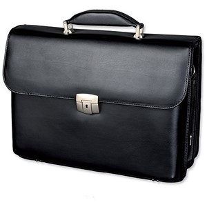 Image of Alassio Briefcase with Shoulder Strap / Multi-section / Leather / Black