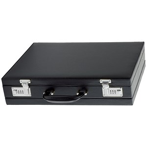 Image of Alassio Ponte Attaché Case / Multi-section / Expandable by 20mm / Leather-look / Black