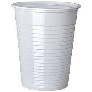 Image of Plastic Non Vending Cups for Cold Drinks / 200ml / White / Pack of 100