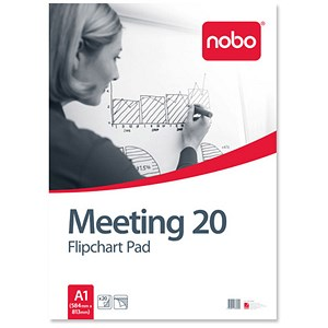 Image of Nobo Meeting Flipchart Pad / Perforated / 20 Sheets / A1 / Plain / Pack of 5