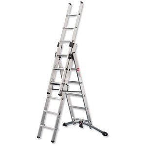 Image of Combi Ladder / 3 Section / Capacity 150kg / Rungs 2x6 / 1x5 / H4.8m