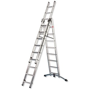 Image of Combi Ladder / 3 Section / Capacity 150kg / Rungs 2x9 / 1x8 / H6.7m
