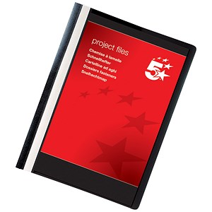 Image of 5 Star Project Flat Files with Indexing Strip / Lightweight Polypropylene / A4 / Black / Pack of 5
