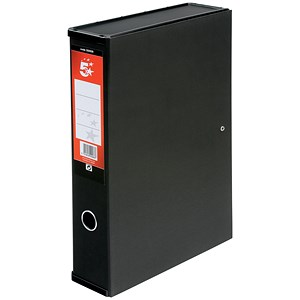 Image of 5 Star Box File / Spring Lock / 75mm Spine / Foolscap / Black / Pack of 5