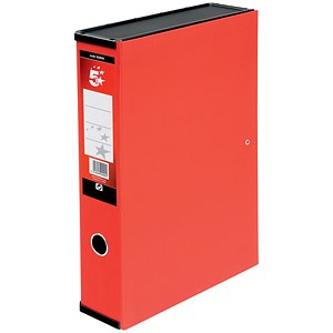 Image of 5 Star Box File / Spring Lock / 75mm Spine / Foolscap / Red / Pack of 5