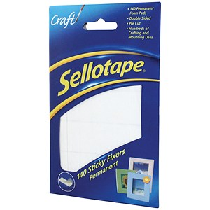 Image of Sellotape Double-sided Sticky Fixers / 12 x 25mm / 140 Pads / Pack of 6