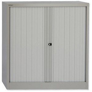 Image of Bisley Medium Low Steel Tambour Cupboard - Grey
