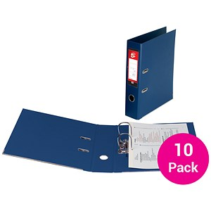 Image of 5 Star A4 Lever Arch Files / PVC / 70mm Spine / Blue / Pack of 10