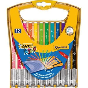Image of Bic Kids Couleur Felt Tip Pens / Ultra-washable / Water-based / Medium / Assorted Colours / Pack of 12