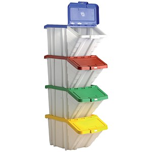 Image of Storage Container Bin 50L 30kg Load W390xD630xH340mm White and Assorted Lids [Pack 4]