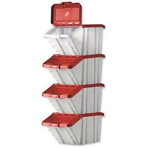 Image of Storage Container Bin 50L 30kg Load W390xD630xH340mm White and Red Lid [Pack 4]