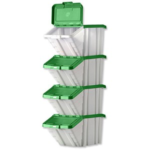 Image of Storage Container Bin / 50L / W390xD630xH340mm / White & Green Lid / Pack of 4