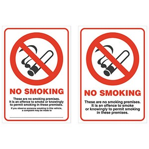 Image of No Smoking Sign for Windows 105x148mm White Self-Adhesive Double Sided Vinyl