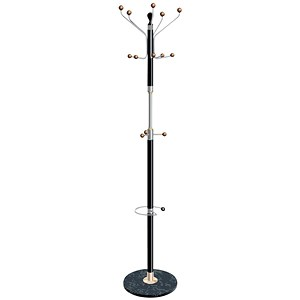 Image of Hat and Coat Stand / Chrome / Tubular Steel / Umbrella Holder / 8 Pegs / 5 Hooks