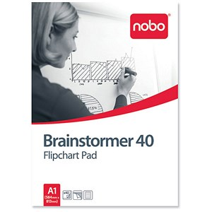 Image of Nobo Brainstormer Flipchart Pad / Perforated / 40 Sheets / A1 / Feint Lined / Pack of 5