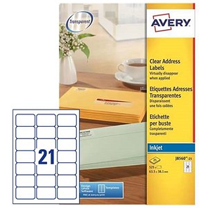 Image of Avery Clear Addressing Labels / 21 per Sheet / 63.5x38.1mm / J8560-25 / 525 Labels