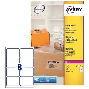 Image of Avery Clear Laser Addressing Labels / 8 per Sheet / 99.1x67.7mm / L7565-25 / 200 Labels