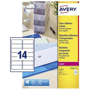 Image of Avery Clear Laser Addressing Labels / 14 per Sheet / 99.1x38.1mm / L7563-25 / 350 Labels